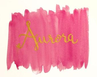 Custom Nursery Name Painting | Watercolor & Acrylic | Baby Girl | Baby Boy | Newborn Nursery Decor