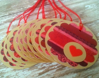 Valentine Heart Favor Gift Tags - 12 Tags