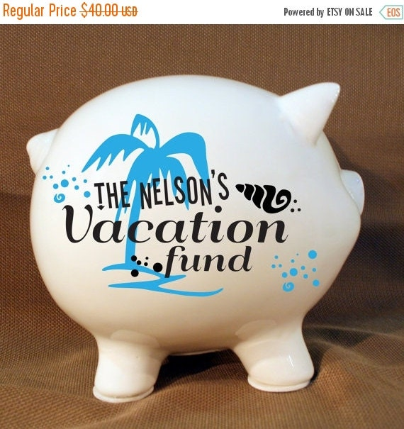 On Sale 5 5 Personalized Piggy Bank Vacation Fund With By