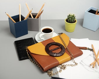 """Exclusive clutch made of genuine leather """"Europe"""""""