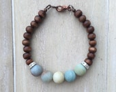 Brown wooden beaded bracelet with amazonite and rhinestone spacer beads