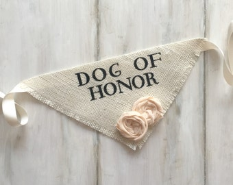 Dog Wedding Bandana Engagement Photos Save the Date Cards Dog of Honor Collar Girl Flowers Fabric Roses Proposal Wedding Accessories
