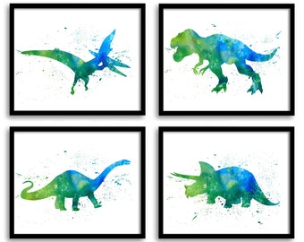 Watercolor Dinosaur Prints Dinosaur Wall Art Set of 4 Children Nursery Art  Dinosaur Poster Home Wall Decor Green Turquoise Blue Painting