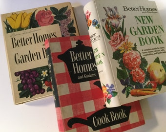 50's Vintage Cookbook Collection Better Homes and Gardens books / Cookbook Garden Book New Garden Book  Kitchen Display