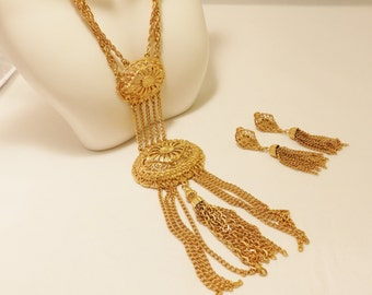 Gold Tone Tassel Necklace and Earring Jewelry Set