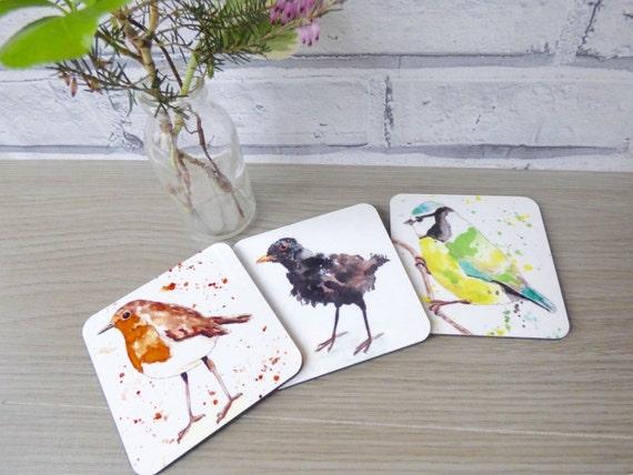 Garden birds watercolour coaster trio blackbird blue tit for Blackbird designs english garden