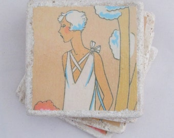 Art Deco Coasters - set of 4 - 1920s, flappers, retro fashion, roaring '20s