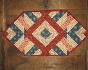 Quilted Patriotic,  4th of July, Memorial Day Table Runner. red white blue