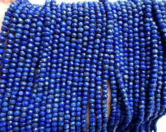 "13"" Blue Lapis Strands Beads, Excellent quality, 3MM, Faceted Gemstone Beads, AG-726"