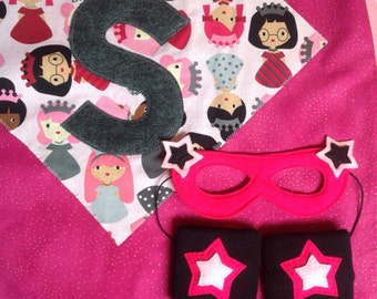 CAPE PACKAGE - Comes with One Personalized PRINCESS Super Cape, One Mask & One Pair of Wristbands. Girls Super Hero Capes Packages.