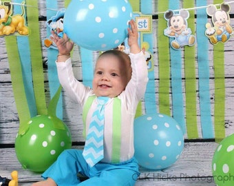 Turquoise Chevron Necktie & Suspenders, Baby Boy's Outfit, 1st Birthday Outfit,  Smash Cake Set
