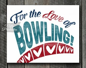Bowling Print - INSTANT DOWNLOAD Bowling Art - Vintage Bowling Poster - Bowling Wall Art - Bowling Gifts - Bowling Decor - Sports Art SART