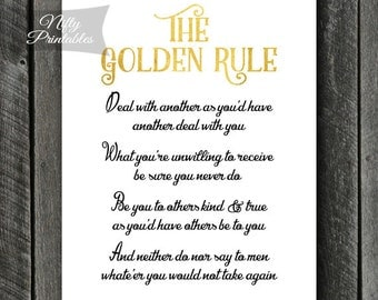 The Golden Rule Print - Instant Download Golden Rule Art - Do Unto Others Print - Quotation Office Decor - Inspirational Proverb Poster