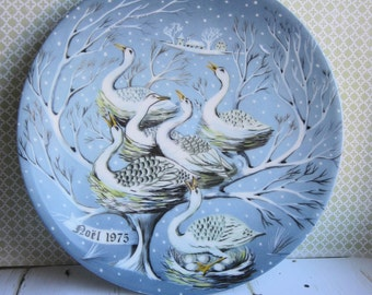 Haviland Limoges 1975 Christmas Plate- Twelve Days of Christmas Plate- 12 days of Christmas Six Geese a Laying- Holiday  Collector's Plate