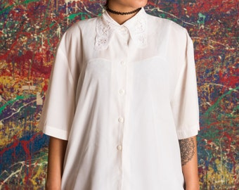 Lace Collar White Blouse Short Sleeves White Tee