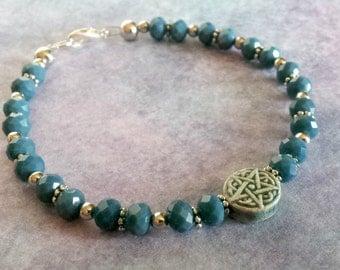 Pentacle Bracelet, Wiccan Bracelet, Pagan Jewelry, Witch Jewelry, New Age Jewelry, Goddess Jewelry, Spiritual Bracelet, Occult Jewelry