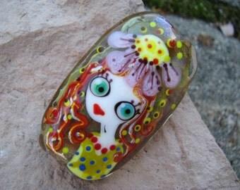 "Handmade Lampwork glass pendant, Lampwork glass focal bead, ""Flower Girl"""