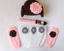 Princess Leia Costume Set 4pcs Baby Hat, Diaper Cover, Light Saber And Leg Warmers From Star Wars - Halloween / Cosplay / Baby Shower Gift