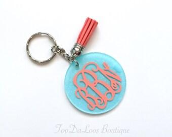 Monogrammed Round Glitter Tassel Keychain