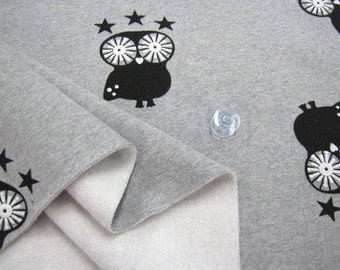 Brushed French Terry Knit Fabric Owl