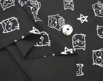 Rib Knit Fabric Owl Black By The Yard