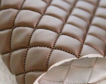 Quilted Faux Leather Fabric Pearl Brown