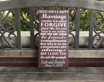 Rules for a Happy Marriage, Personalized Canvas Anniversary,  Wedding Gift, Custom Marriage Canvas, Wedding Date