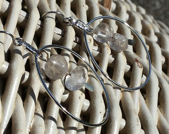 Earring - Siver Circle Link with Glass Nuggets