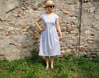 SALE - V neck cotton dress with gathered skirt, side pockets, fabric belt