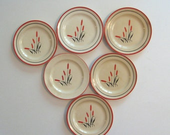 SALE were 10. Universal Potteries Camwood Ivory Cattail plates. Set of 6 1930s bread and butter plates. Red and black on ivory china