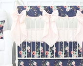 Berkeley's Blush and Navy Floral Ruffle Designer Baby Bedding | Floral Crib Set | Scalloped Teething Guard | Floral Crib Skirt