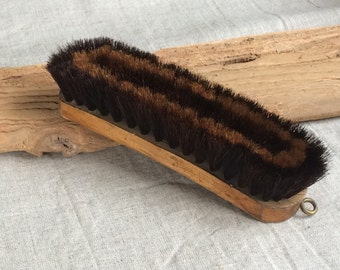 Vintage clothes brush wooden shoe polish brush with natural bristles made in Latvia