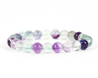Rainbow Fluorite Bracelet, Natural Fluorite Bracelet, Healing Gemstone, Stretch, Gemstone Bracelet, Handmade Jewelry, Gemstone Jewelry