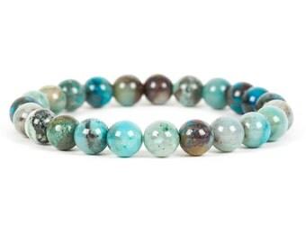 Azurite Malachite Gemstone Bracelet, Genuine 8mm Azurite Malachite Gemstone, Gemstone Bracelet, Handmade Jewelry, Gemstone Jewelry
