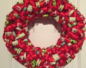 Handmade Red and Green VW Beetle Ribbon Wreath