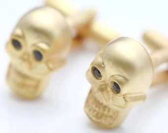 Dying to Be Rich Gold Tone Cuff Links Skull with Souless Black Eyes Gold Toned Cufflinks