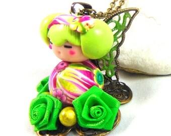 Kokeshi fairy pendant flowers
