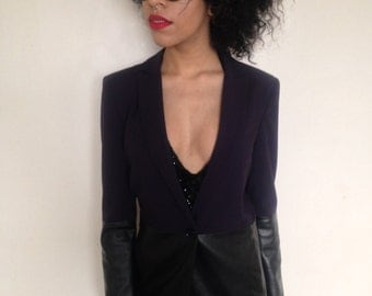 Vtg 90's Armani MINIMALIST aubergine faux leather lower body and sleeves fitted blazer XS