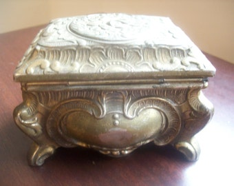 Beautiful Vintage Silver Jewelry / Trinket Box with Red Lining made in Japan