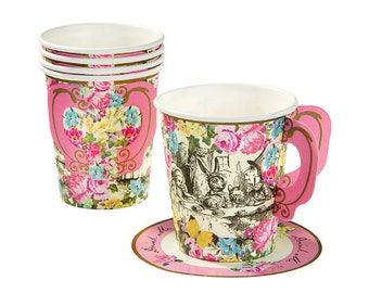 12 Truly Alice Whimsical Cup & Saucers