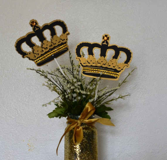 Crown centerpieces stick gold and black royal