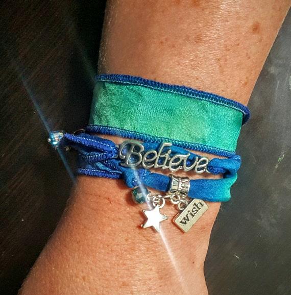 Believe - Silk Wrap Bracelet with chain