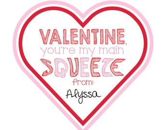 """50% OFF! Printable Valentine's Day """"Main Squeeze"""" Tags"""