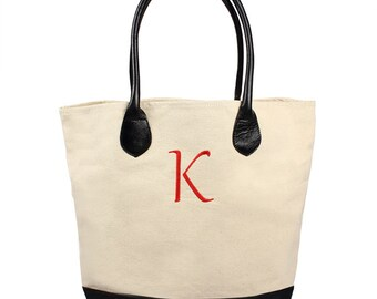Personalized Canvas Tote Bag w/ Leather Straps