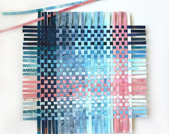 Blue Pink Paper Weaving- Abstract Wall Art- 11x11-  Ombre- Woven Art- Pantone 2016- Serenity, Limpet Shell Turquoise, Rose Quartz