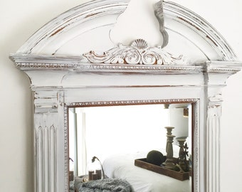 Shabby Chic Wall Mirror large oval wall mirror baroque mirror ivory shabby chic