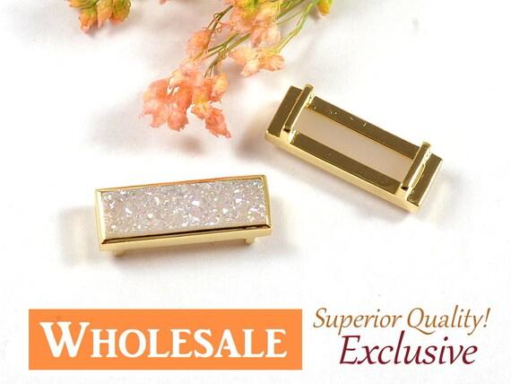 AB Druzy Rectangle Slide Charm WHOLESALE, White Druzy Pendant, Natural Titanium Agate Drusy, Anti-Tarnish 14K Gold Plating  - 5 pcs/ pkg