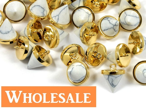 Howlite Spike Charm/ Pendant WHOLESALE, White Gemstone Pointed Cone Pendant in Anti-tarnish Gold Plating  - 10 pcs/ order