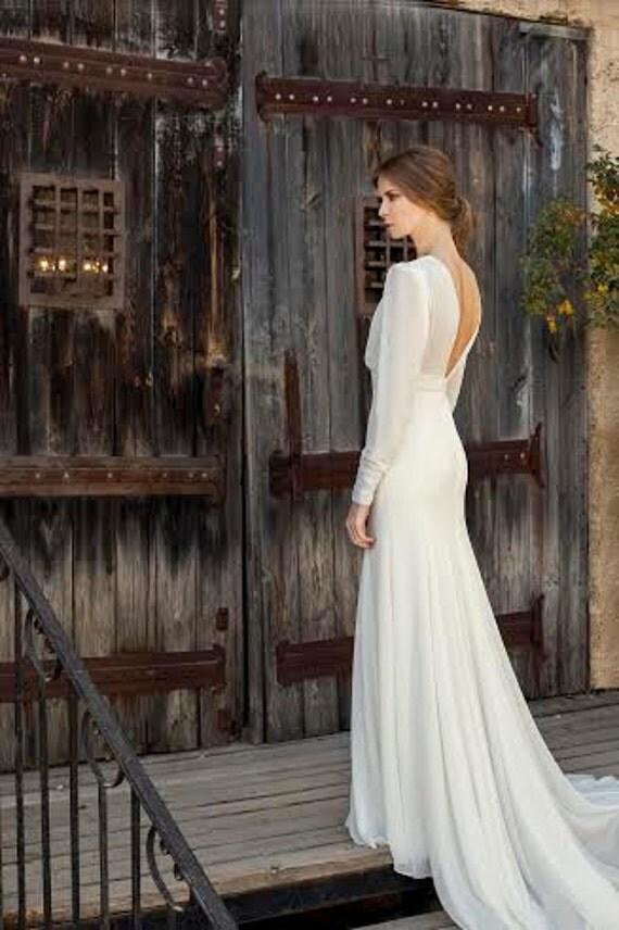 Long Sleeve Wedding Dress Vintage Bridal Gown Off White Simple Bohemian
