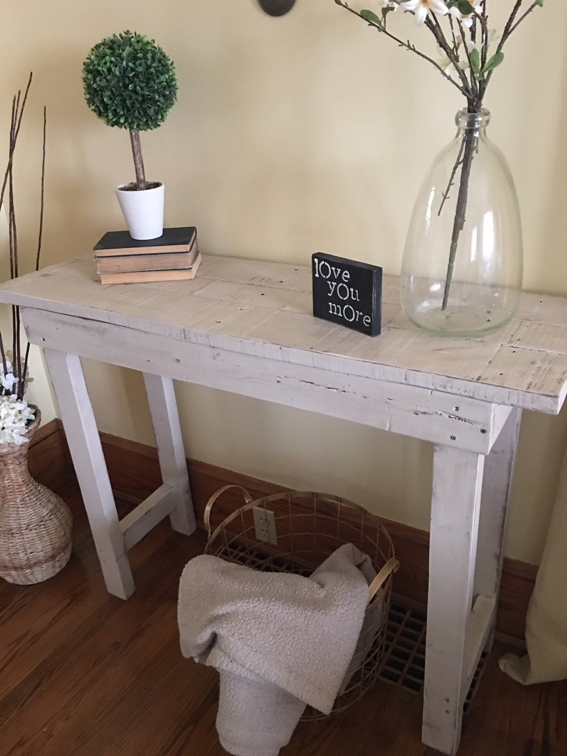 Entry table wood entryway furniture